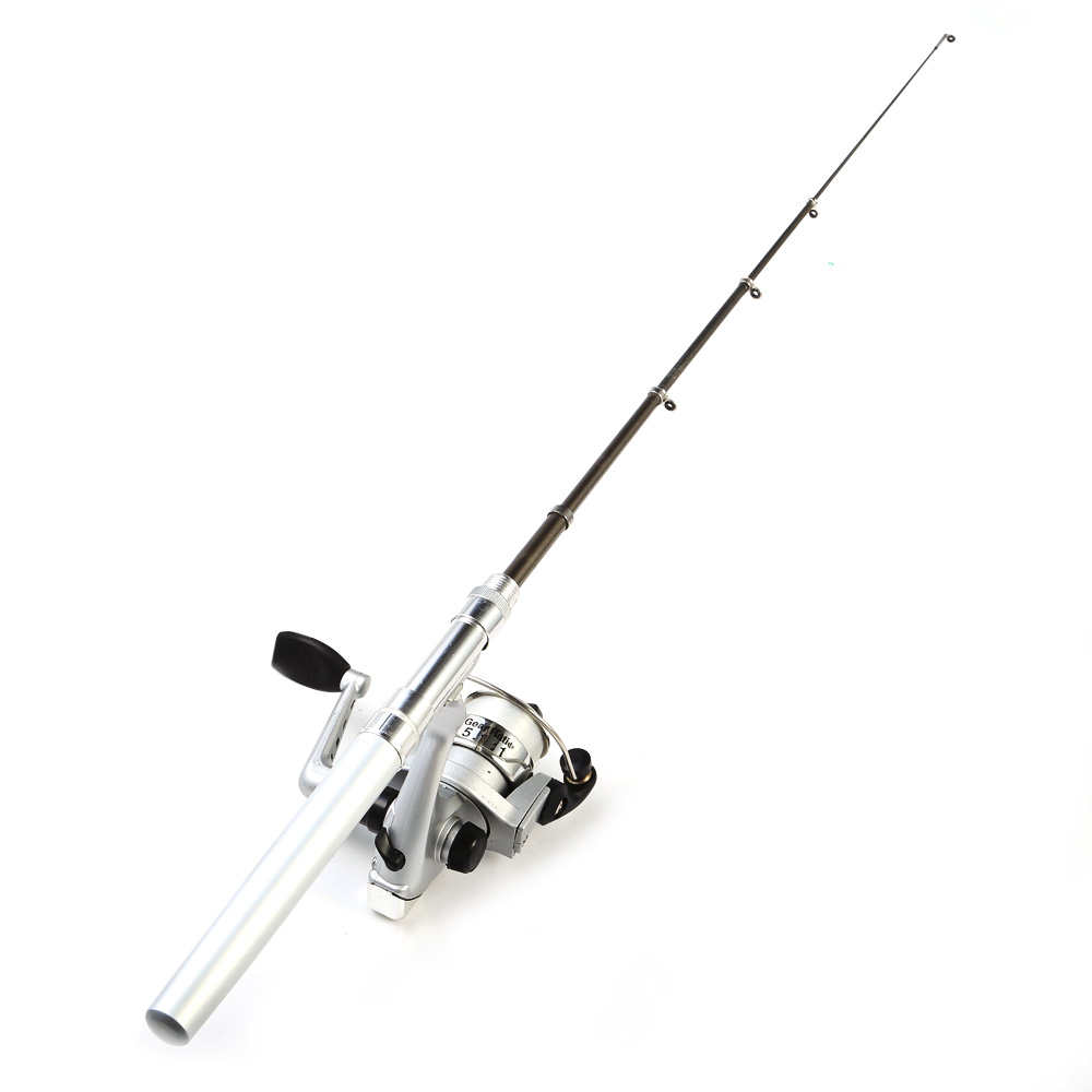 Mini Portable Aluminum Alloy Fish Rod Pen with Spinning Reel