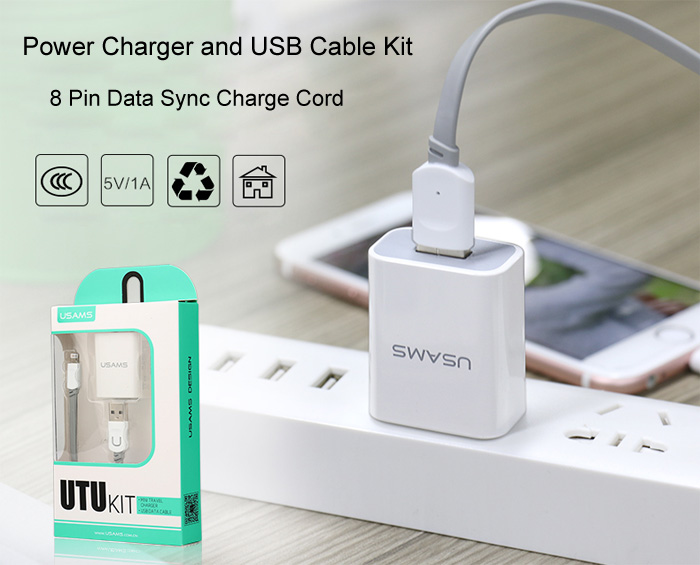 USAMS 2 in 1 Smart Quick Charge Power Charger 8 Pin Data Sync Charging Cable