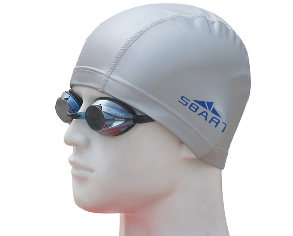 SBART PU Water-resistant Ear Protection Swimming Cap for Water Sports