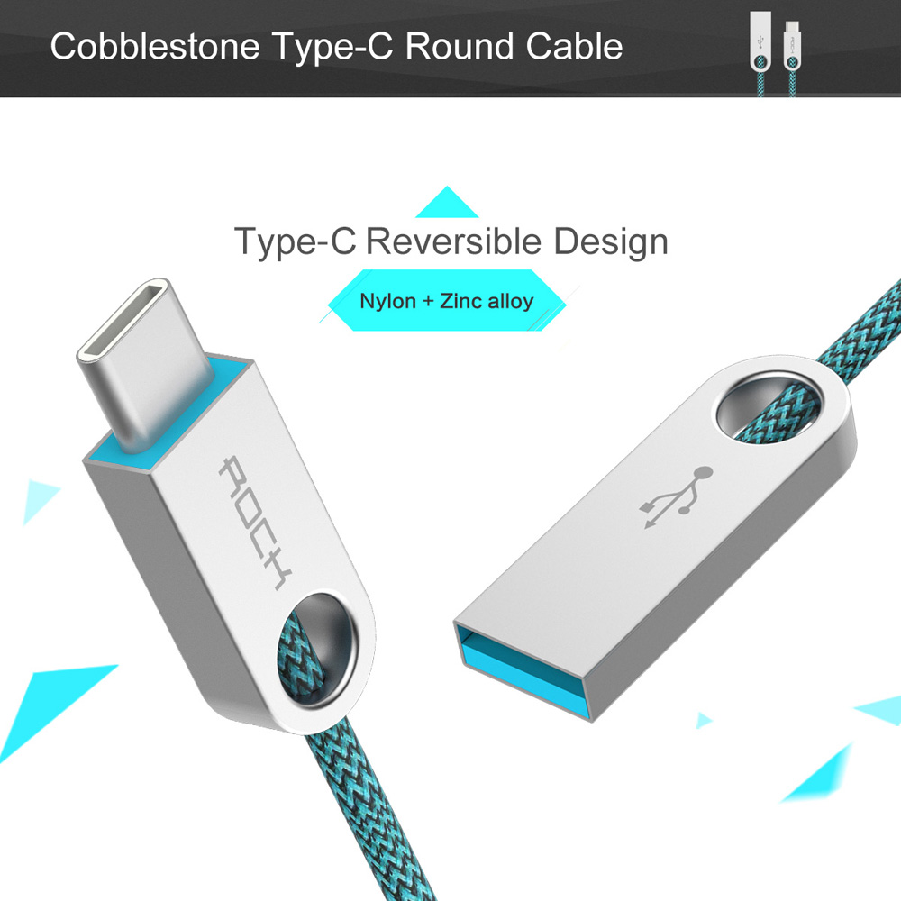 Rock 1m USB to Type - C Fast Charge Data Transfer Cable Zinc Alloy Housing