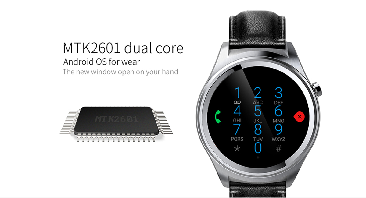 Mlais MTK2601 Android 5.1 Smart Watch with 1.2GHz Dual Core