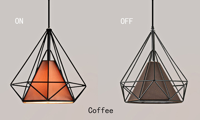 Diamond Shaped Wire Cage Pendant Light Cafe Restaurant