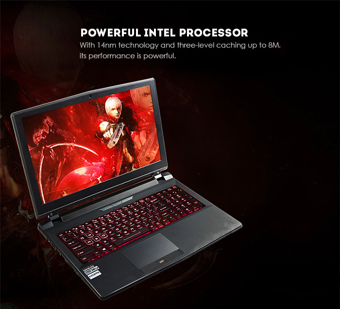 Martian m15x - 970M 15.6 inch Notebook DOS OS Intel Core i7 - 6700 Quad Core 3.4GHz IPS Screen 16GB RAM 1T HDD 256GB SSD Bluetooth 4.0 HDMI Camera