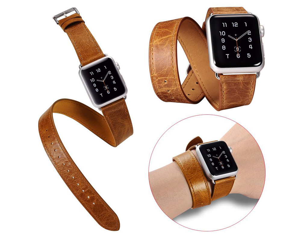 Retro Style Genuine Leather Wrist Band Strap Watchband for Apple Watch 42mm