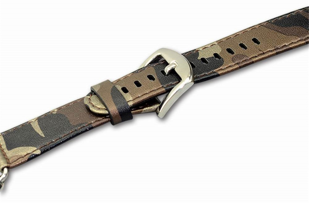 Camouflage Style Replacement Genuine Leather Strap Watchband for Apple Watch 42mm