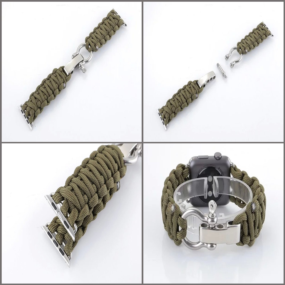 Outdoor Sport Buckle Nylon Braided Style Strap Watchband for Apple Watch 42mm