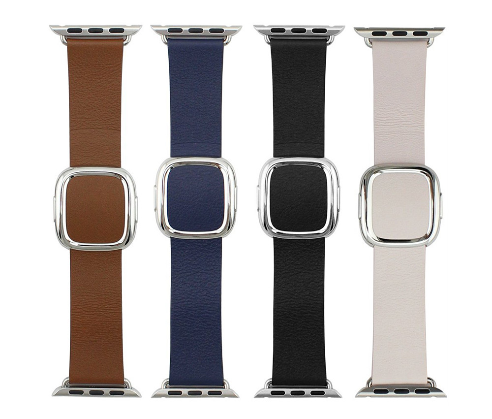 Modern Buckle Smooth Leather Strap Magnetic Closure Watchband for Apple Watch 42mm