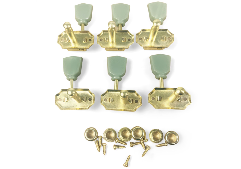 528P 3L3R Jade Retro Style Tuning Key Peg Machine Tuner Head for Acoustic Electric Guitar - 6pcs