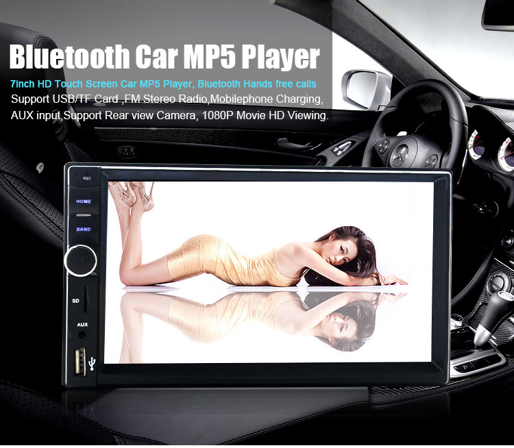 7018B 7 inch Bluetooth V2.0 Hands-free Call / Reversing Function / MP5 Audio Video Music Movie Player Support AUX in TF Card Play