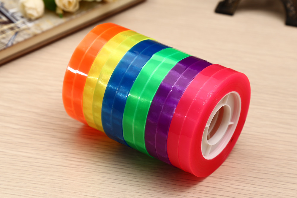 CH - 12 Plastic Tape Adhesive Tapes Students Supplies 12PCS