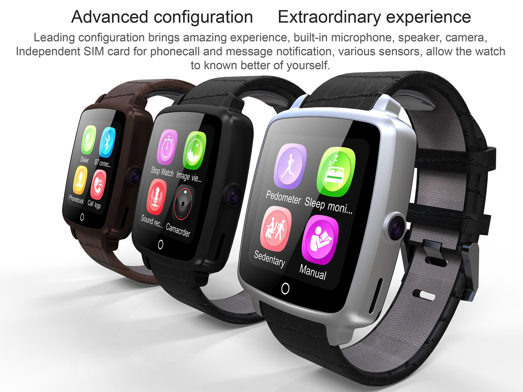 U Watch U11C 1.54 inch Smartwatch Phone MTK2502 Bluetooth 3.0 Remote Camera Sedentary Reminder Sleep Monitor Pedometer