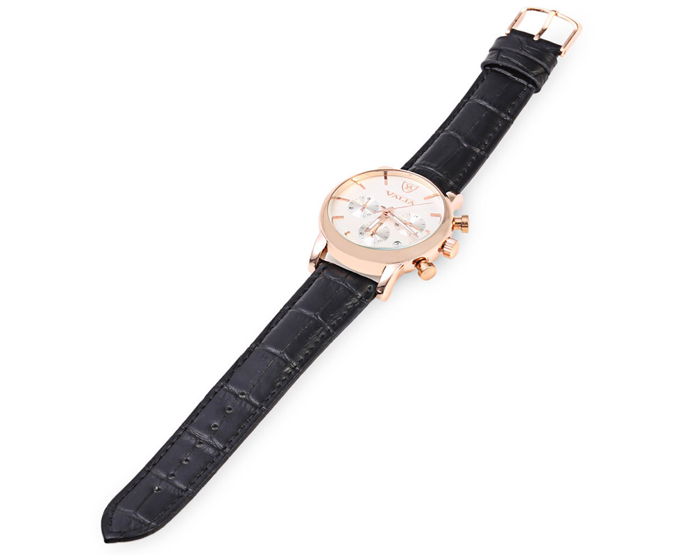 VALIA Business Style Gold Case Male Quartz Watch with Working Sub-dial