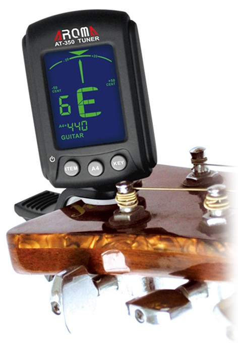 Aroma AT - 350 Backlit LCD Screen Clip-on Guitar Electric Tuner for Musical Instrument
