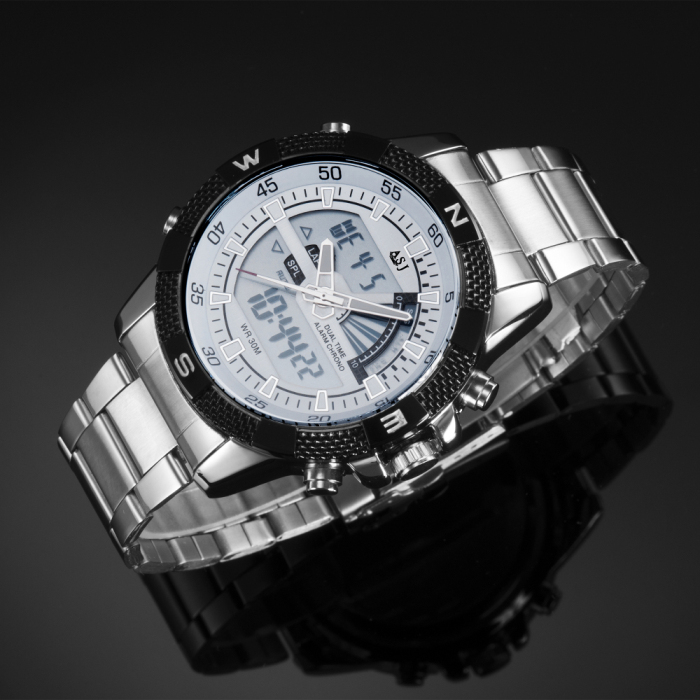 ASJ b001 Dual Movt Men Quartz + Digital Watch Date / Day Display