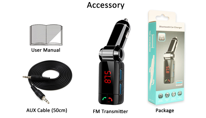 BC06S Bluetooth V3.0 Car Hands-free Call Music Wireless FM Transmitter