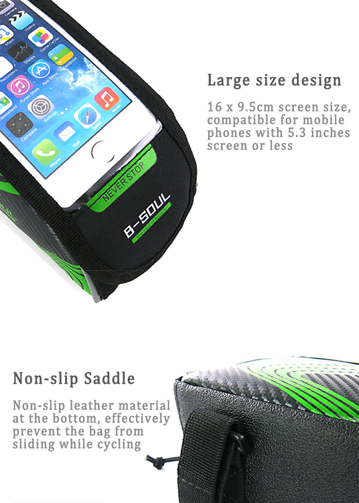 B - SOUL Touch Screen Water Resistant 5.5 inch Bicycle Front Tube Bag