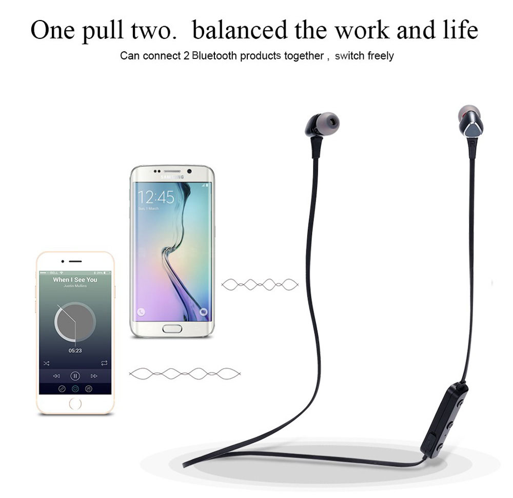 VEVA M6 Bluetooth In-ear Sport Music Earbuds with Microphone Support Hands-free Calls Noise Canceling