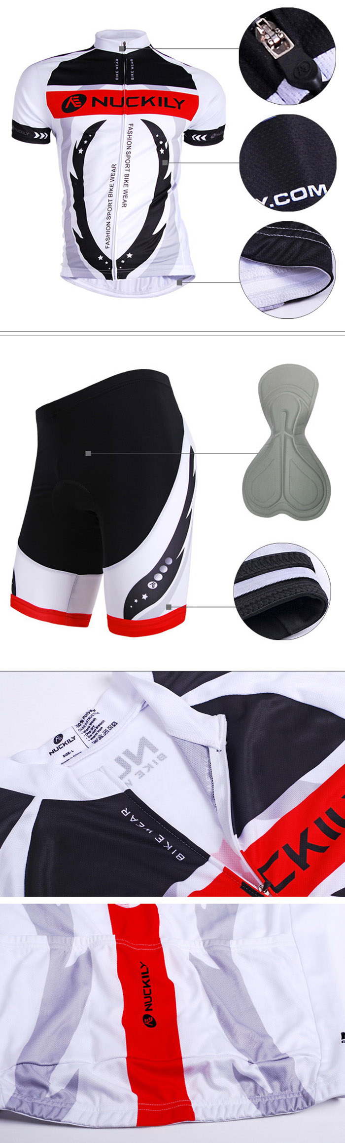 NUCKILY AJ208 BK267 Men Polyester Windproof Bicycle Cycling Suit