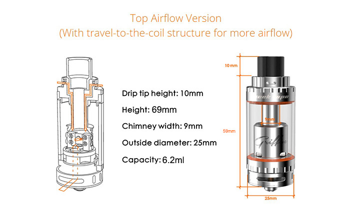 Original GeekVape Griffin 25 Top Airflow Version E Cigarette RTA Rebuildable Tank Atomizer with 6.2ml Capacity