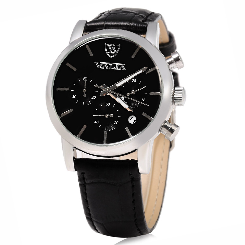 VALIA Business Style Silver Case Male Quartz Watch with Working Sub-dials