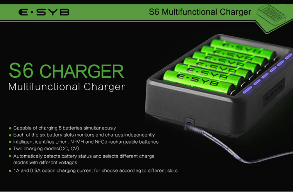 ESYB S6 Smart Battery Charger for 10440 / 14500 / 16340 / 18650 / 26650 / A / C / D
