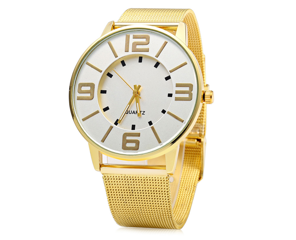457 Business Style Female Quartz Watch with Gold Steel Strap