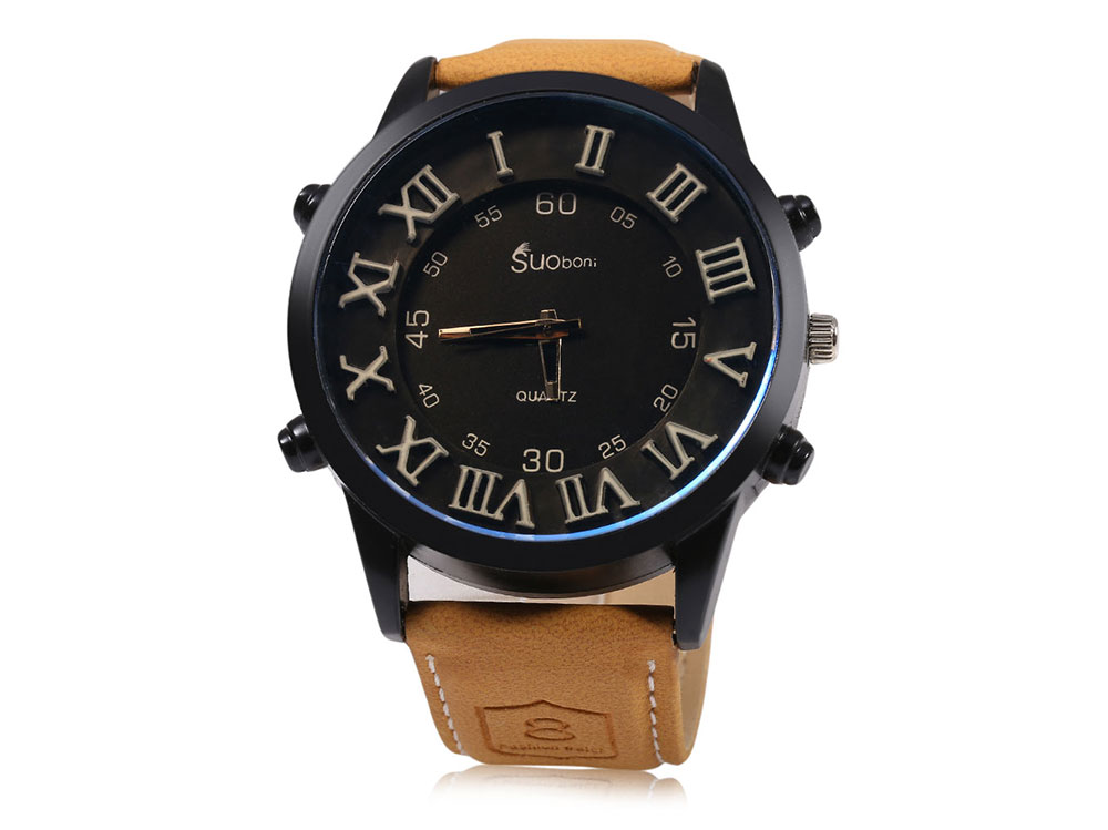SUOboni A7114 Casual Style Male Quartz Watch with Big Dial