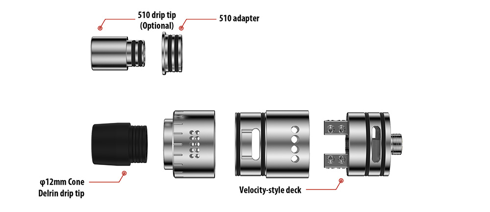 Original Youde UD ANZU RDA Atomizer with Dual Airflow / Velocity Posts E Cigarette Rebuildable Dripping Atomizer