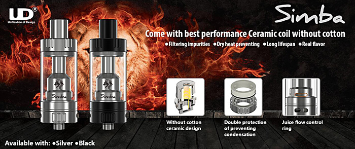 Original Youde UD Simba Subohm Tank Atomizer with 4.5ml / without Cotton Ceramic Design E Cigarette Clearomizer
