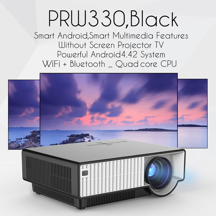 PRW330 LCD Projector Android 4.4 Bluetooth 4.0 2800 Lumens 1280 x 800 Pixels 1080P 2.4GHz / 5GHz WiFi DLNA Miracast Airplay Home Theater