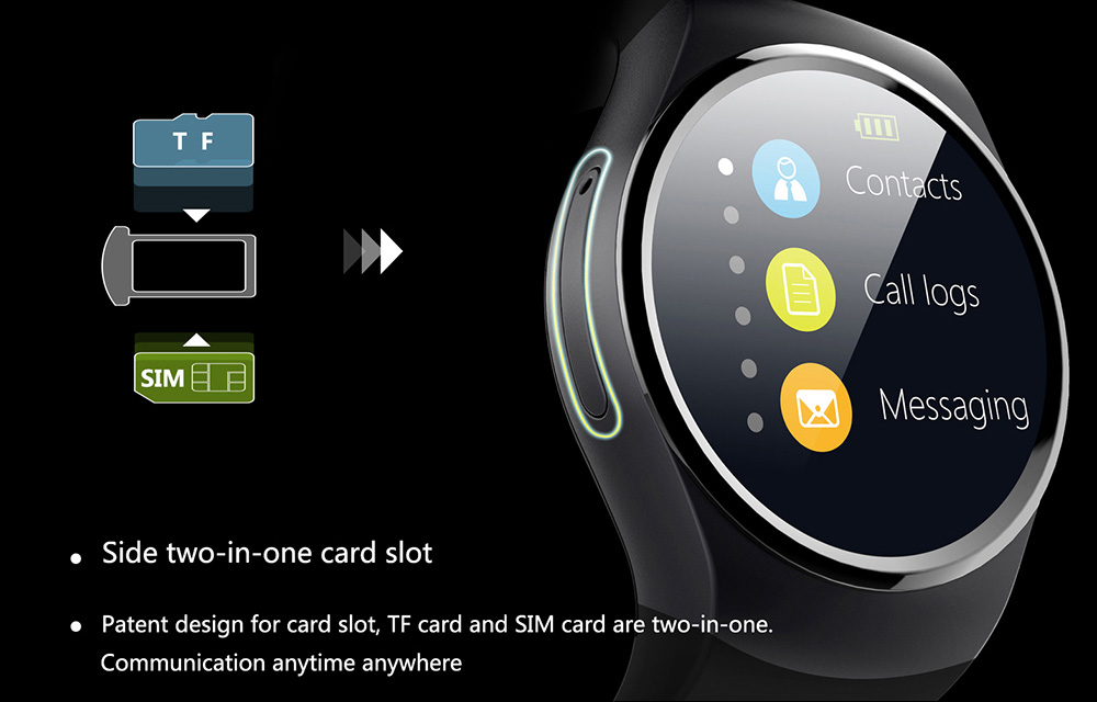 KingWear KW18 1.3 inch Round Dial Smartwatch Phone MTK2502 IPS Screen Pedometer Sedentary Reminder Bluetooth 4.0 Heart Rate Monitor