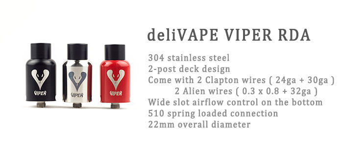 Original deliVAPE VIPER Stainless Steel RDA Rebuildable Dripping Atomizer with 2-post Deck for E Cigarette
