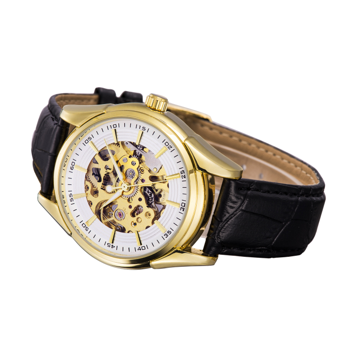 FLENT b078 Hollow-out Male Automatic Mechanical Watch Genuine Leather Strap