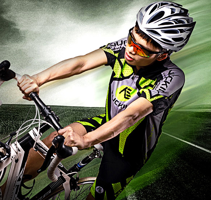 NUCKILY MA005 MB005 Men Polyester UV Resistant Bicycle Cycling Suit