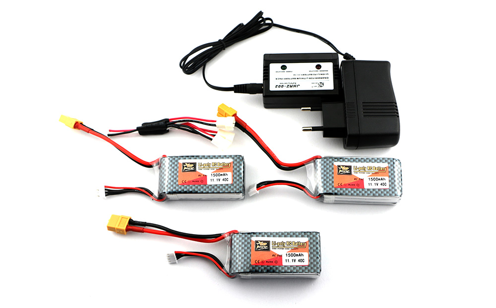 3pcs Zop Power 11.1V 1500mAh 40C Battery + Charger and Connecting Cable Set XT60 Plug