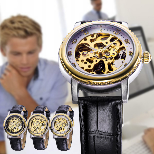 FLENT b086 Diamond Scale Hollow-out Design Male Automatic Mechanical Watch