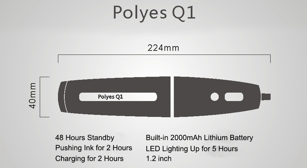 POLYES Q1 Rechargeable 3D Printing Pen Blu-ray Photocuring Doodle Pens