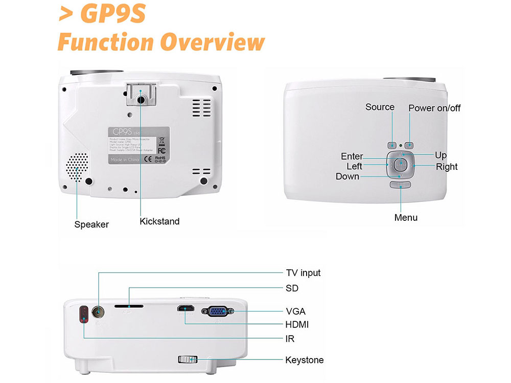 GP9S LCD Projector 800 Lumens 800 x 480 Pixels VGA / USB / HDMI / SD Card Interface Support HD 1080P Multimedia Audio Player