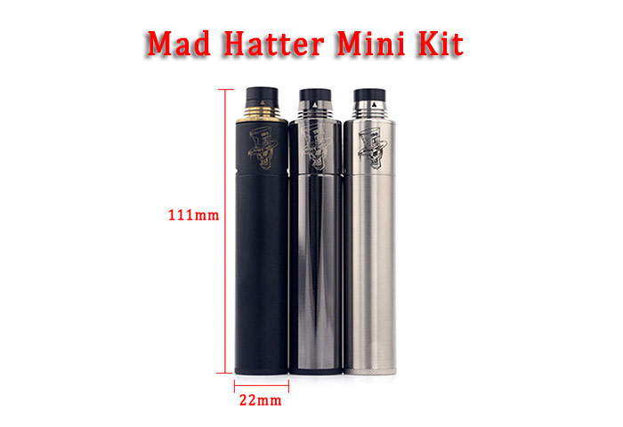 Original ADVKEN Mad Hatter Mini E Cigarette Kit with 304 Stainless Steel / Triple Posts RDA Atomizer / Electrodeless Battery Mod