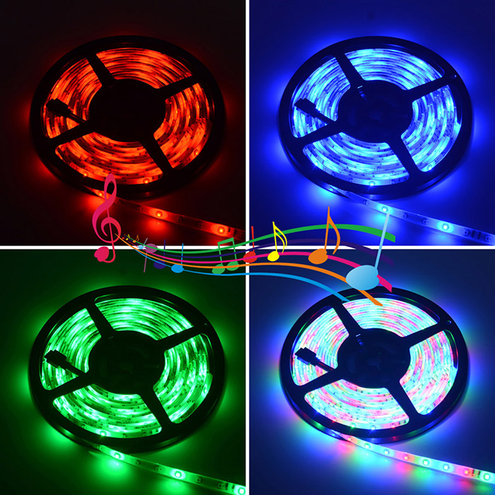 2PCS HML 60 x SMD 2835 / M 24W 5M Waterproof RGB LED Rope Light + Remote Controller