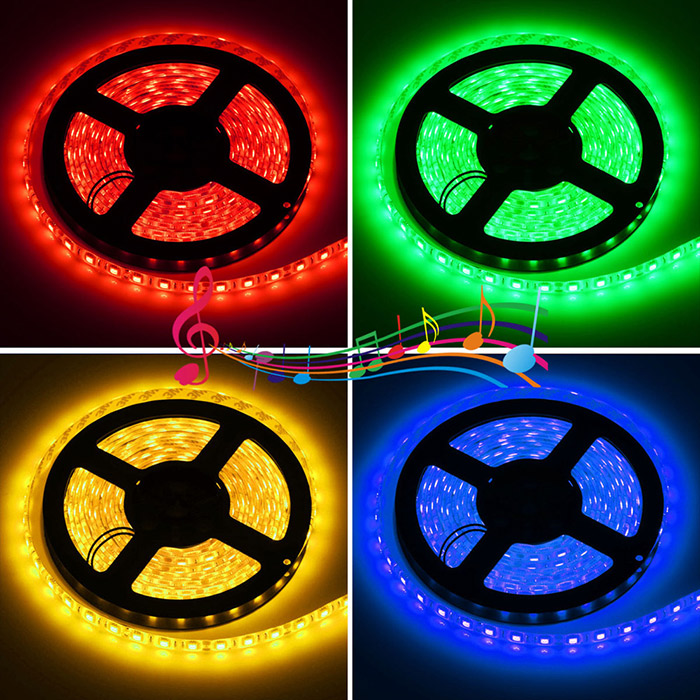 1PCS HML 5M 300 x SMD 5050 72W Waterproof RGB LED Strip Light + Music Remote Controller