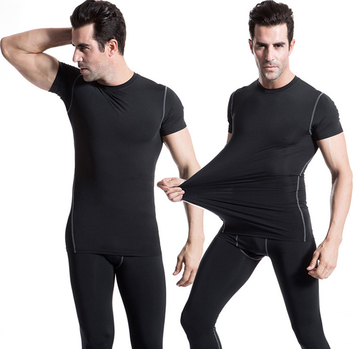 Yuerlian Men Fitness Compression Short Sleeve T-shirt