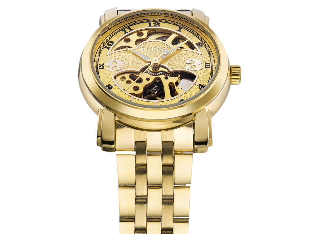 FLENT 7006 Retro Automatic Mechanical Male Fad Wristwatch Hollow-out Watch Stainless Steel Band
