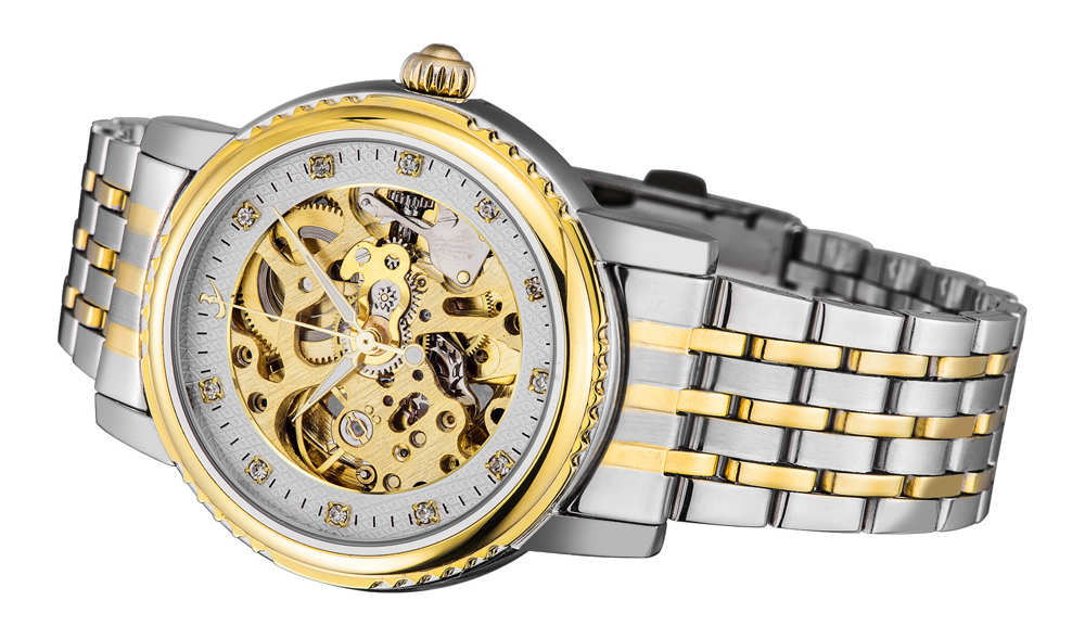 FLENT F8113G Automatic Mechanical Male Wristwatch Hollow-out Watch with Gear-shaped Bezel