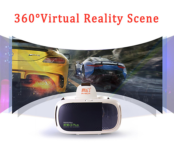 RITECH RIEM3 Plus 3D VR Glasses Virtual Reality Headset Private Theater Game Video with Capacitive Touch Button for 4.7 - 6 inch Smartphone
