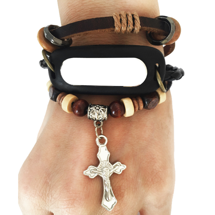 Crucifix Pendant Artificial Beads Watchband for XIAOMI Miband 1 / 1S