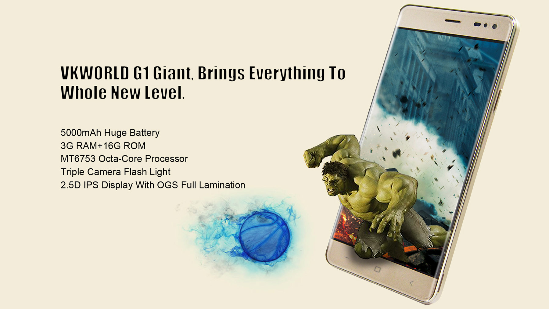 VKworld G1 Android 5.1 4G Phablet 5.5 inch 2.5D Arc HD Screen MTK6753 64bit 1.3GHz Octa Core 3GB RAM 16GB ROM 13.0MP + 8.0MP Cameras 5000mAh Battery
