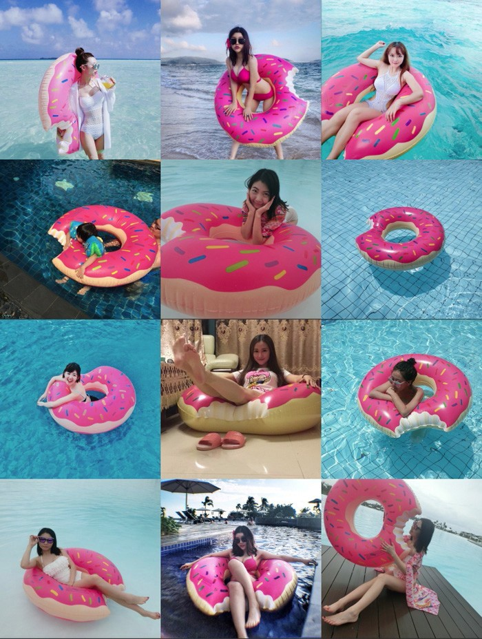Gigantic Doughnut Pool Inflatable Swimming Float for Adults Summer Water Games