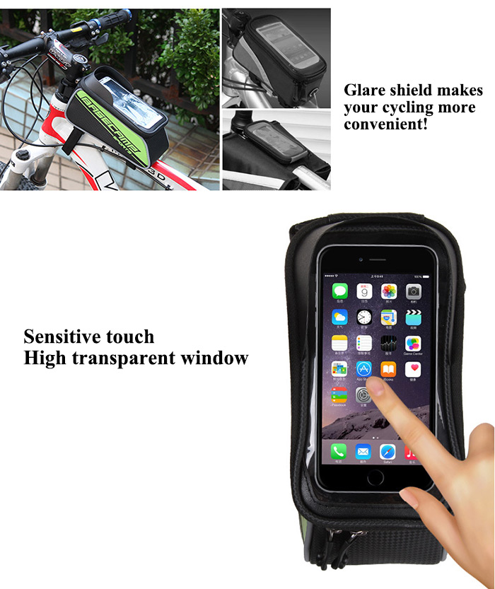 BaseCamp BC - 302 Touch Screen Water Resistant 4.7 inch Bicycle Front Tube Bag for Cycling