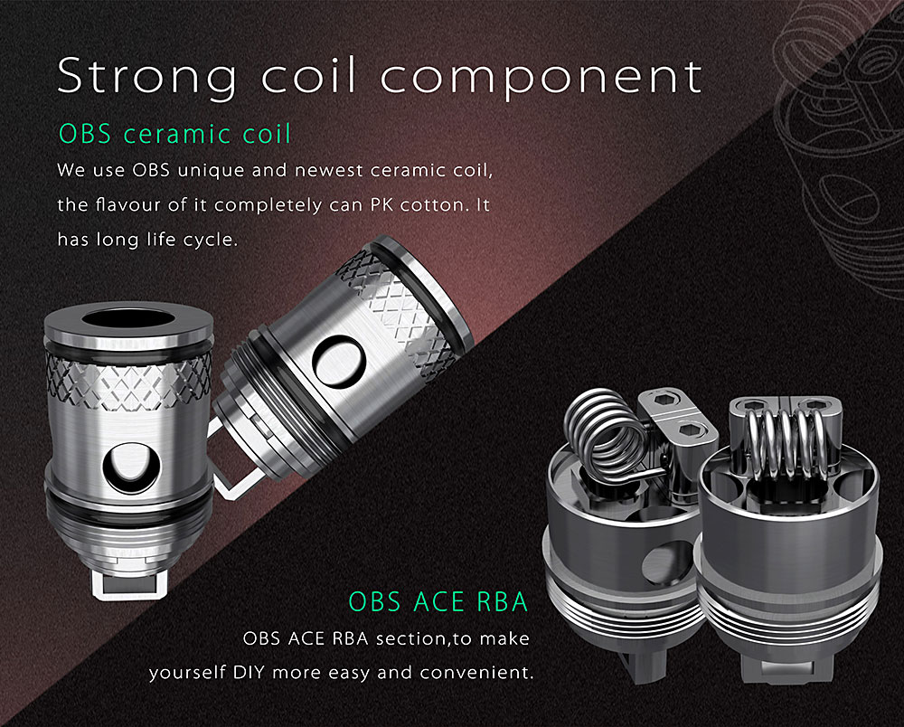 Original OBS ACE Tank Atomizer with 0.45ohm ICC / RBA Coil Head / Side Filling / Juice Flow Control / 4.5ml E Cigarette Clearomizer